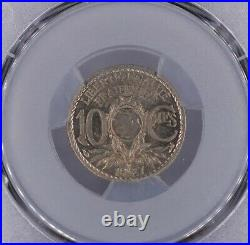 10 Centimes 1927 Lindauer Fautée non perforée PCGS MS64 Fleur de coin Top Pop