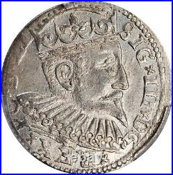 1598 Latvia Livonia Riga Trojak 3 Groschen Sigismund III PCGS MS-62 TOP POP