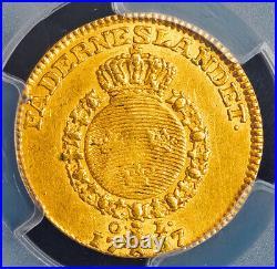 1787, Kingdom of Sweden, Gustav III. Rare Gold Ducat Coin. Top Pop! PCGS AU-55
