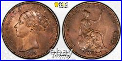 1848/7 MS64 RB Great Britain Penny UNC PCGS KM 739 TOP POP BEAUTY! S-3948