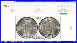 1853 3 Cent Silver PCGS MS67+ Top Pop Brilliant White Registry Gem