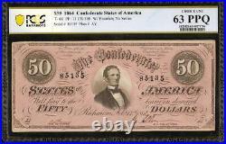 1864 $50 Dollar Bill Confederate States Note CIVIL War Money T66 Pcgs 63 Top Pop