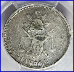 1876 Cn P Mexico 25 Centavos Silver Coin PCGS VF 30 KM# 406.2 TOP POP RARE