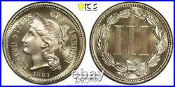 1881 PCGS PR68 Proof GOLD Shield CAC THREE CENT Nickel Piece 3CN TOP POP