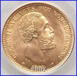 1889-EB Sweden Oscar II gold 20 Kronor PCGS MS67 RESPLENDENT GEM TOP POP