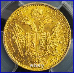1892, Austria, Emperor Francis Joseph I. Gold Ducat Coin. Top Pop! PCGS MS-64