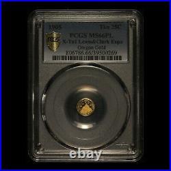 1905 Oregon Gold Lewis & Clark Expo 25C PCGS MS66PL Sole PCGS Top Pop & PL