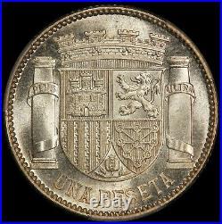 1933 (34) Spain 1 One Un Peseta Silver Coin PCGS MS 66 KM# 750 TOP POP