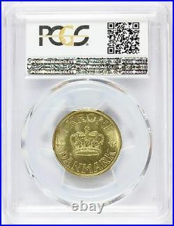 1938 N GJ Denmark 1 One Krone Coin PCGS MS 64 KM# 824.2 TOP POP 1