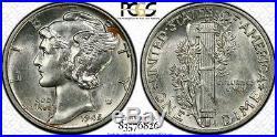 1945-P 10C PCGS AU58 Mercury Dime Virtual FB #26 Top Pop RicksCafeAmerican. Com