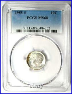 1955-S Roosevelt Dime 10C. Certified PCGS MS68 $1,250 Value Top Pop 6/0 Coin