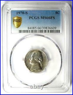 1970-S Jefferson Nickel 5C Coin PCGS MS66 FS Top Pop 8/0 $6,000 Value