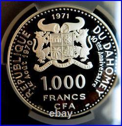 1971 Dahomey 1000 Franc Pcgs Pr67 Dcam Silver Femme Somba Top Pop Finest Known