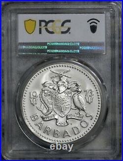 1973-FM $10 Barbados MATTE Silver Coin PCGS MS68, Top Pop 1/0, KM# 17a, SHIELD