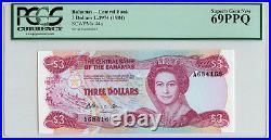 1974 (1984) BAHAMAS $3 PCGS 69 PPQ SUPERB GEM NEW PK 44a Top Pop FINEST KNOWN
