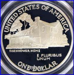 1990-P S1$ Eisenhower-Commemorative-Silver-Dollar PCGS PF-70-DCAM Rare Top-Pop