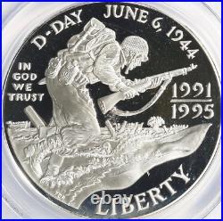 1991-95-W S1$ World-War-II Commemorative-Silver-Dollar PCGS PR-70-DCAM Top-Pop
