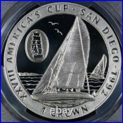 1992 Isle of Man Crown America's Cup San Diego PCGS PR67DCAM (Top Pop!)