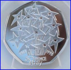 1998 Silver Proof 50p EEC EU PR70 DCAM PCGS Royal Mint Great Britain TOP POP