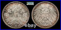 1 Mark 1908 E Wilhelm II PCGS MS67 TOP POP Germany