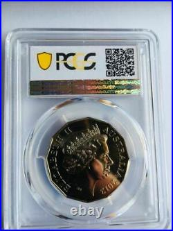 2012 Coat of Arms Colorised 50 Cent TOP POP PCGS Gold Shield MS 69 None Better