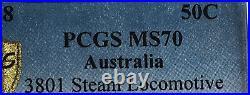 2018 3801 Steam Locomotive 50 Cent PCGS Gold Shield MS 70 Top Pop Make An Offer