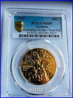 2020 Australian Olympic 50 Cent PCGS Gold Shield MS 69 TOP POP NONE KNOWN HIGHER