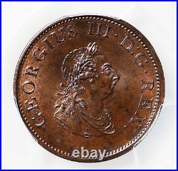 2182 Ireland, Hibernia, George III, Half Penny, 1805, PCGS MS65 BN Top Pop
