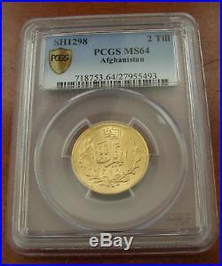 Afghanistan 1919 (SH1298) Gold 2 Tillas (20 Rupees) PCGS MS64 Top Pop