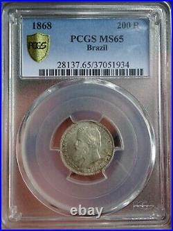 Brazil, 200 Reis 1868, MS65 Top Pop