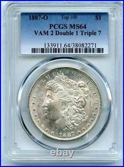 C12123- 1887-o Vam-2 1887/1-7 Top 100 Morgan Pcgs Ms64 Pop 13/0 Finest Known