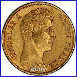 Charles X 40 Francs or 1830 Marseille Superbe PCGS AU58 rarissime Top Pop