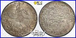 Egypt Ottoman, 20 Piastres 1327/3 Ah Pcgs Ms 63 Top Pop On Ngc & Pcgs, Rare
