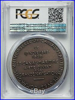 Egypt, Silver Specimen Suez Canal Medal 1869 Pcgs Sp66 Top Pop, Rare