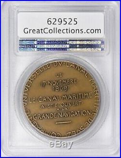 Egypt, Specimen Bronze Suez Canal Medal 1869 Pcgs Sp65 Top Pop, Rare