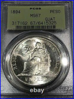 Guatemala, Central America 1894 Silver Peso, WOW quality PCGS MS67 top pop