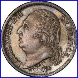 Louis XVIII Demi-franc Frappe Incuse monnaie fautée Splendide PCGS MS63 Top Pop