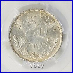 Mexico 1899 Zs Z Silver 20 Centavos KM-405 PCGS MS65 Rare Coin Top Pop 2/0