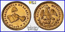Mexico, 1/2 Escudo Gold 1862/1 Go YE, PCGS MS62 TOP POP