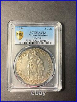Netherlands West Friesland 3 gulden 1694 almost uncirculated PCGS AU53 TOP POP