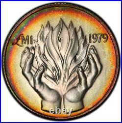 PL68 1979 Malta 1 Pound Proof, PCGS Secure- Rainbow Toned Top Pop (1/1)
