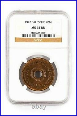Palestine 20 Mils 1942 KM-5 NGC MS 64 RB Top Pop on PCGS Second on NGC