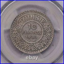 Pcgs-au55 Ah1352-1933 Tunisia 10francs Silver Key Date Pop Top Mintage 1103pcs