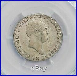 Pcgs-ms63 1818 Ib Poland Zloty 23mm Silver Pop Top Rare Type Bu