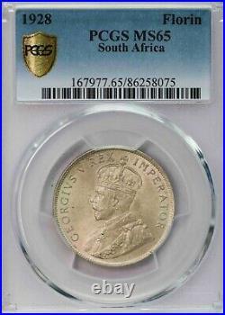Pcgs-ms65 1928 South Africa Florin Key Date Pop Top Gem Bu