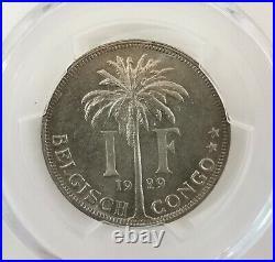 Pcgs-ms65 1929 Belgian Congo 1franc Bu Pop Top Full Luster
