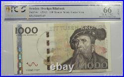 Sweden 1000 Kronor 2005 Banknote PCGS GEM UNC 66 OPQ Pick 67 TOP POP
