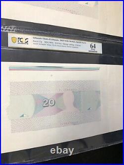 TOP POP Lithuania 2 PROOF FACE Pick#57p 1993 20 Litu PCGS PPQ 64 banknote UNIQUE