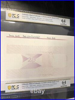 TOP POP Lithuania 3 COLOR TRIAL FACE Pick#57p 1993 20 Litu PCGS PPQ 64 banknotes