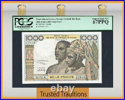 TT PK 103Ak ND WEST AFRICAN STATES 1000 FRANCS PCGS 67 PPQ SUPERB TOP POP